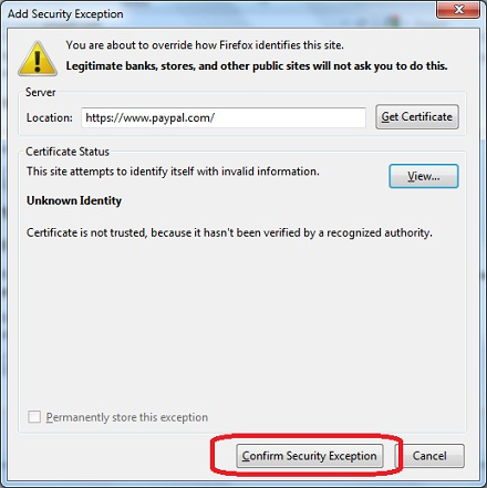 Firefox 9 - Add Security Exception