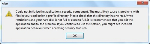Firefox 9 - Security Component Error