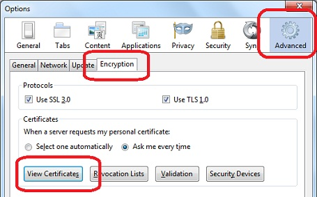 Firefox 9 Option - View Certificates
