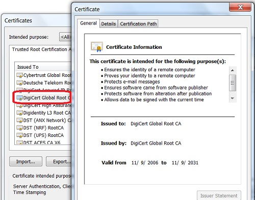 Google Chrome - CA Certificates General View