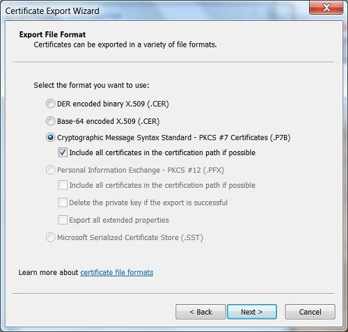 Google Chrome - Export Server Certificate Path