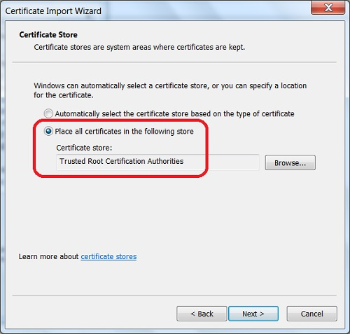 Google Chrome - Import Server Certificate as Trusted