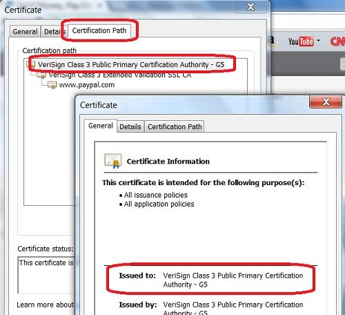 Google Chrome - View Server Certification Path