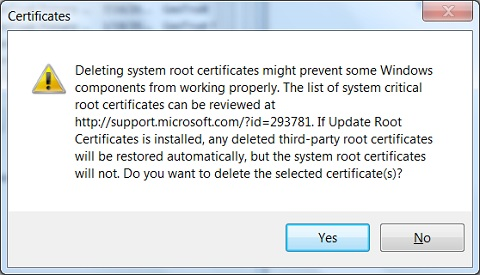 IE - Warning Meesage on Deleting Root CA Certificate