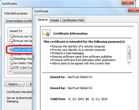 IE - Root CA Certificates General View