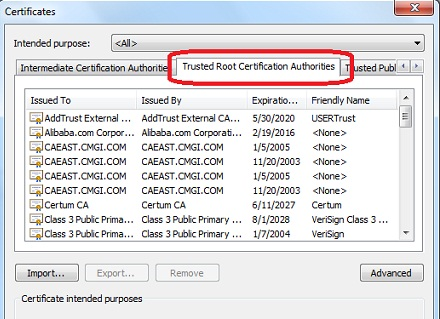 IE Option - List of Root CA Certificates