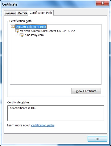 IE - View Server Certificate Path