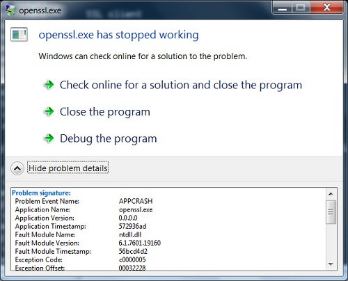OpenSSL Fulgan Binary Version Crash on Windows 7