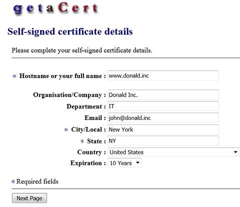 Tools - getaCert.com Self-Signed Certificate Generator