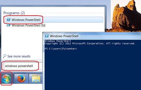 Start Windows PowerShell on Windows 7