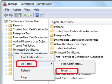 Windows - certmgr msc - Import Root CA Certificate