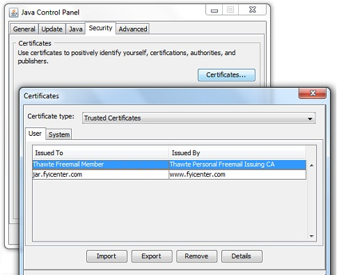 Java Control Panel - Security Certificates