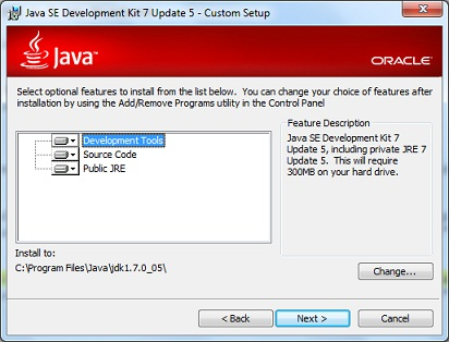 Java SE 7 Installation Custom Settings